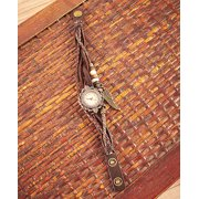 Leather Charm Bracelet Watches ( Brown )