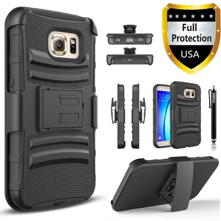 Galaxy S7 Case, Combo Rugged Phone Cover with Built-in Kickstand and Holster Locking Belt Clip And Circlemall Stylus Pen For Samsung Galaxy S7 (Samsung Galaxy S7 Active Sound Cuts Out)