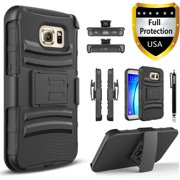 Galaxy S7 Case, Combo Rugged Phone Cover with Built-in Kickstand and Holster Locking Belt Clip And Circlemall Stylus Pen For Samsung Galaxy S7 (Black)
