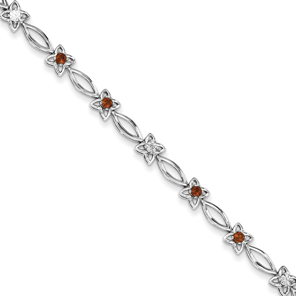 Sterling Silver Garnet and Diamond Bracelet .006 dwt .70 cwt by
