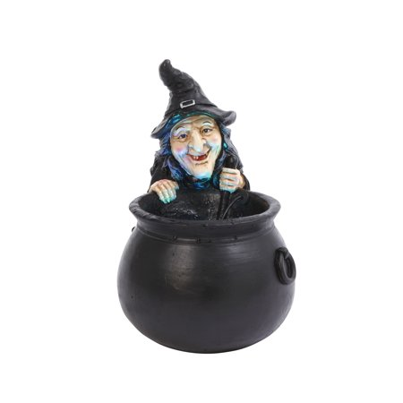 Gerson Color Changing Illuminated Smoking Polyresin Witch with - Plastic Witch Cauldron