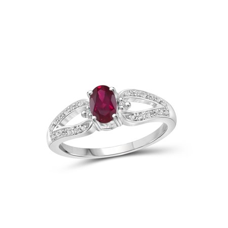 0.48 Carat T.G.W. Ruby Gemstone and Accent White Diamond Women's Ring