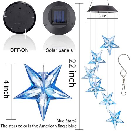 Solar Wind Chime Changing Colors Waterproof Six Star Solar Powered LED Hanging Lamp for Outdoor Garden Party Decoration - image 3 de 8