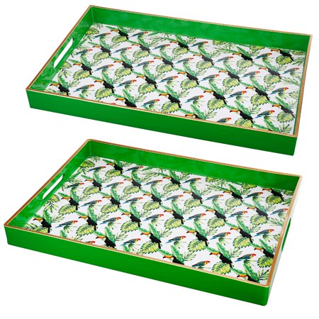 - A&B Home Decorative Toucan Serving Trays With Cut Out Handles, Set of 2