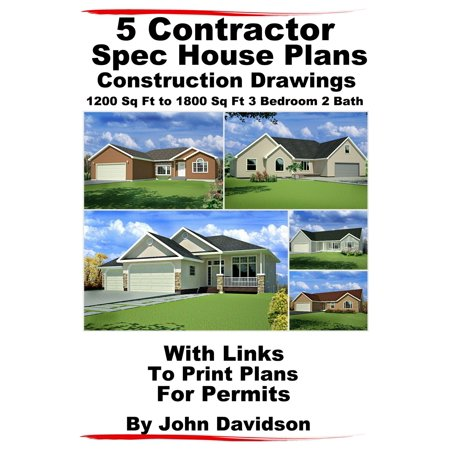 5 Contractor Spec House Plans Blueprints Construction Drawings 1200 Sq Ft to 1800 Sq Ft 3 Bedroom 2 Bath - eBook (House Drawing)
