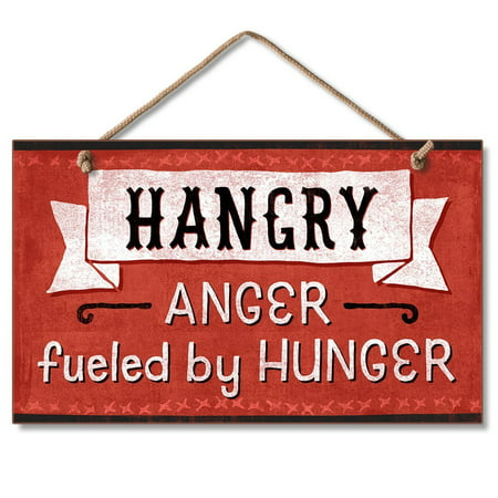 Hangry Hanging Wood Sign, 9.5 x 5.5 inches, Hangry By American Woodcrafters