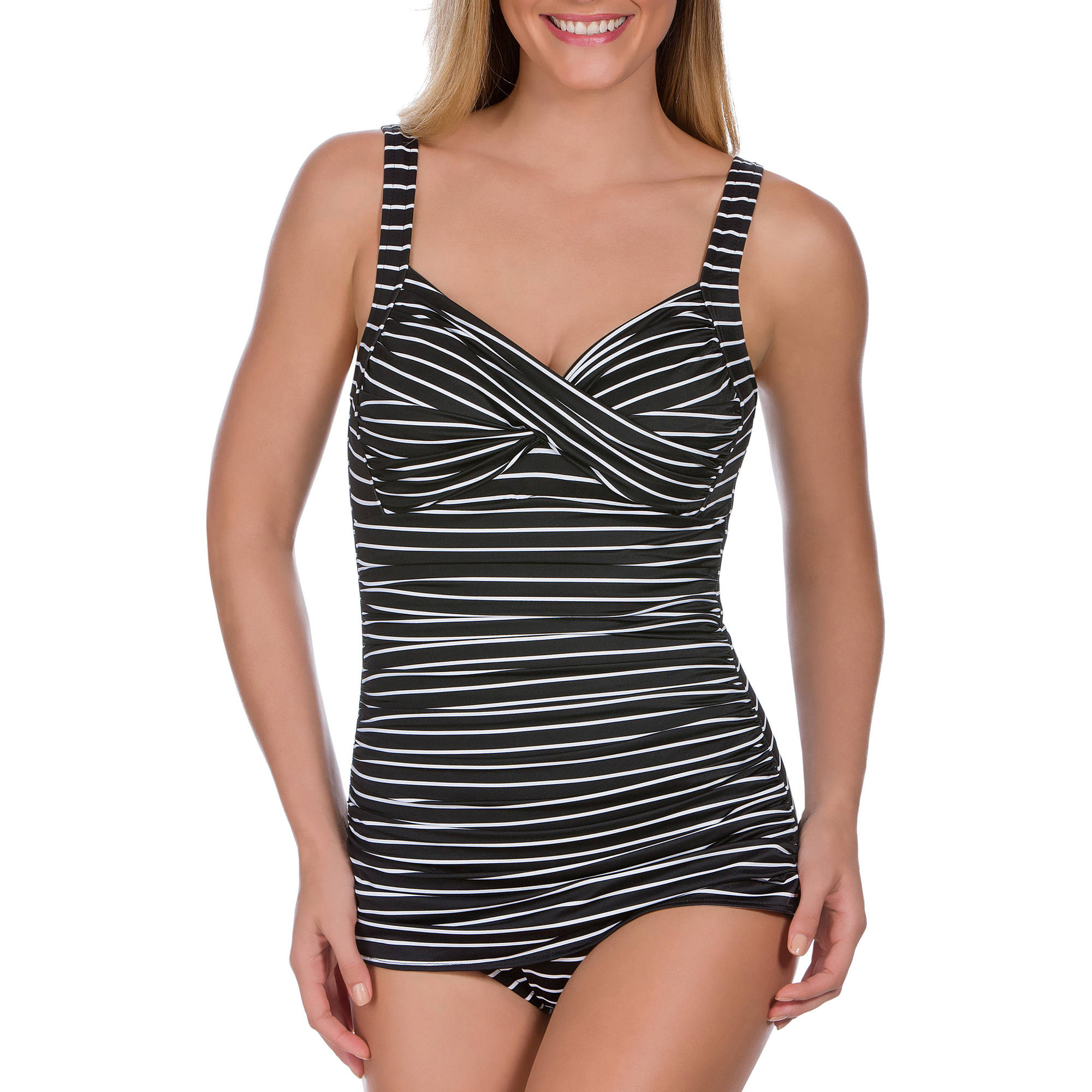Suddenly Slim By Catalina Women's Retro Slimming One-Piece Swimsuit
