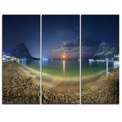 Design Art Beach with Lunar Path - 3 Piece Graphic Art on Wrapped Canvas Set