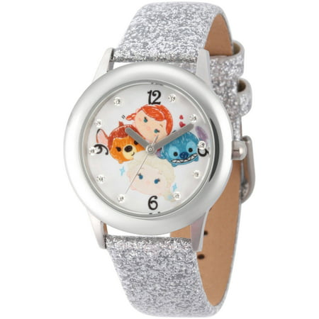 Disney Tsum Tsum Elsa  Anna  Bambi And Stitch Girls Stainless Steel Time Teacher Watch  Silver Glitter Strap