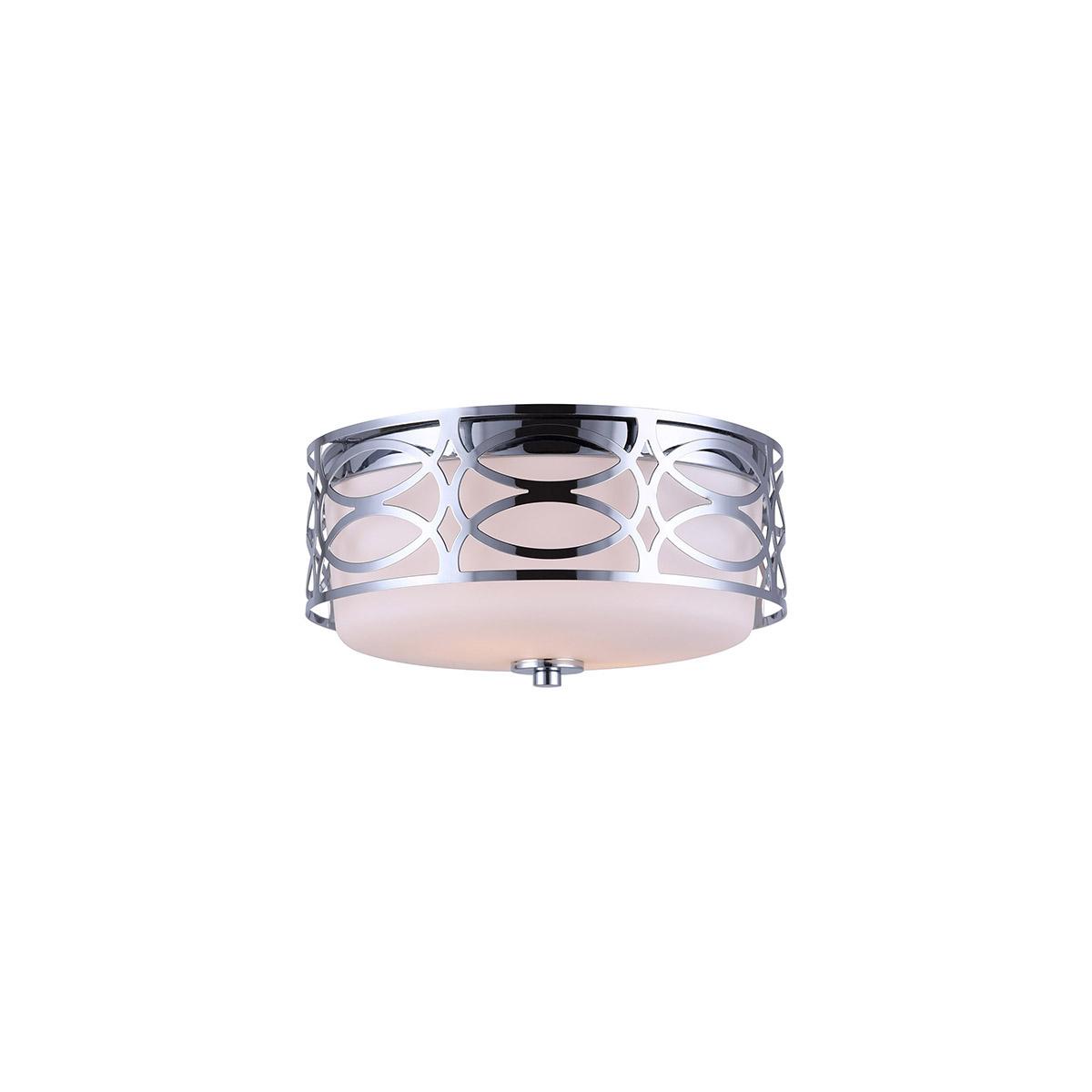 Flush mounts 2 light fixtures with chrome finish steel glass a bulb 12 120 watts