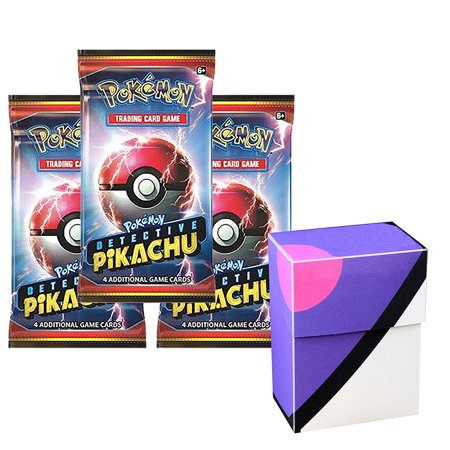 3 Pokemon Detective Pikachu Booster Pack Set With 1 Master Ball theme Deck Box - Total 12 Pokemon Cards - Rare Common or Uncommon - 12 Masters