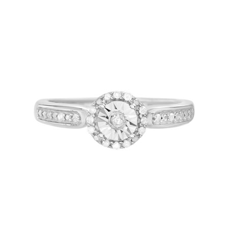 Diamond Accent Round Ring in Sterling Silver](Silver Diamond)
