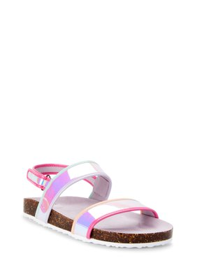 Wonder Nation Iridescent Footbed Slide Sandal (Little Girls & Big Girls)