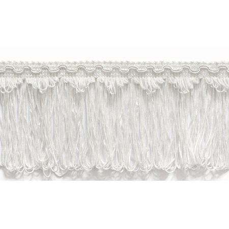 4 Inch Long Loop Fringe Trim, Style# CLF4 Color: WHITE - A1, Sold By the -
