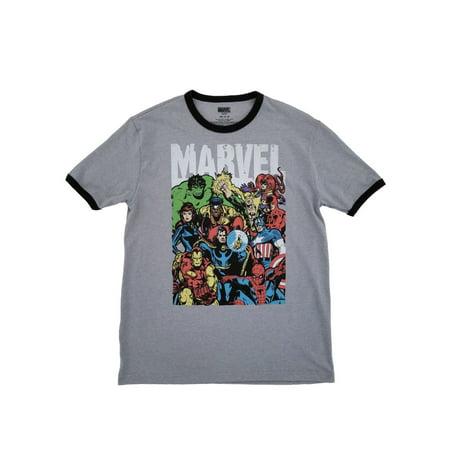 Marvel Comics Mens Heather Gray Superhero Teamup Avengers T-Shirt - Men Superhero