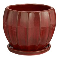 """Better Homes & Gardens Lani Red Ceramic Planter w/Attached Saucer, 8"""""""