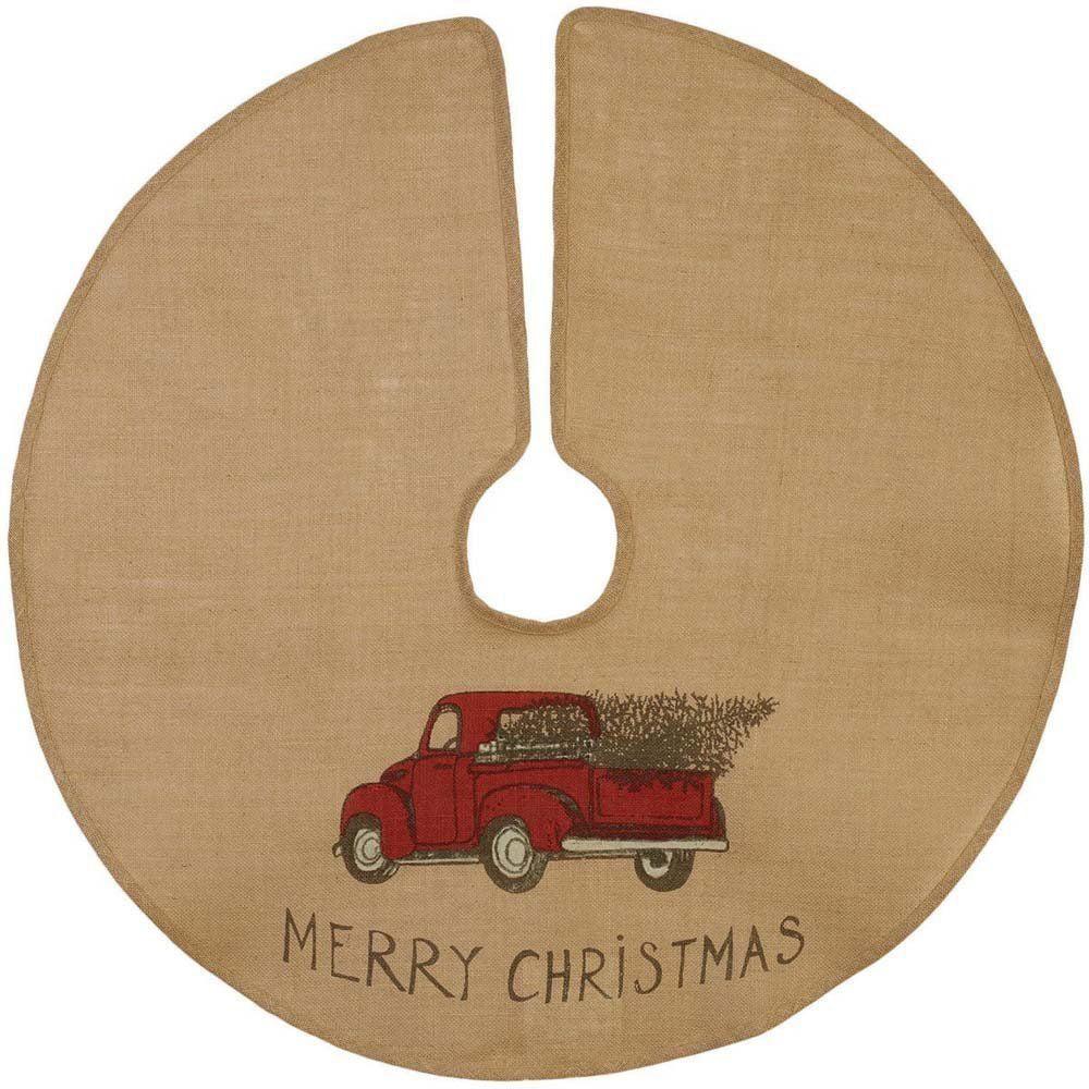 "MERRY CHRISTMAS Red Pickup Truck Burlap Christmas Tree Skirt - 36"" Diameter"
