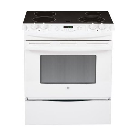 GE GE JS630DFWW 30; Slide-In Electric Range with 4.4 cu. ft. Capacity Smooth Ceramic Glass Cooktop Smooth