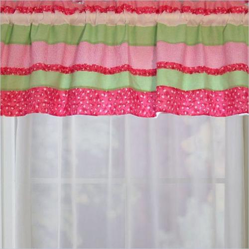 PEM America Annas Ruffle Window Valance in Pink and Green