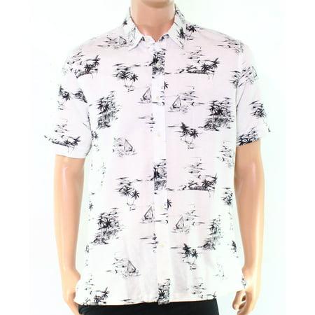 a8222d5c Tasso Elba - NEW White Mens Size Large L Palm-Tree Print Hawaiian Shirt -  Walmart.com
