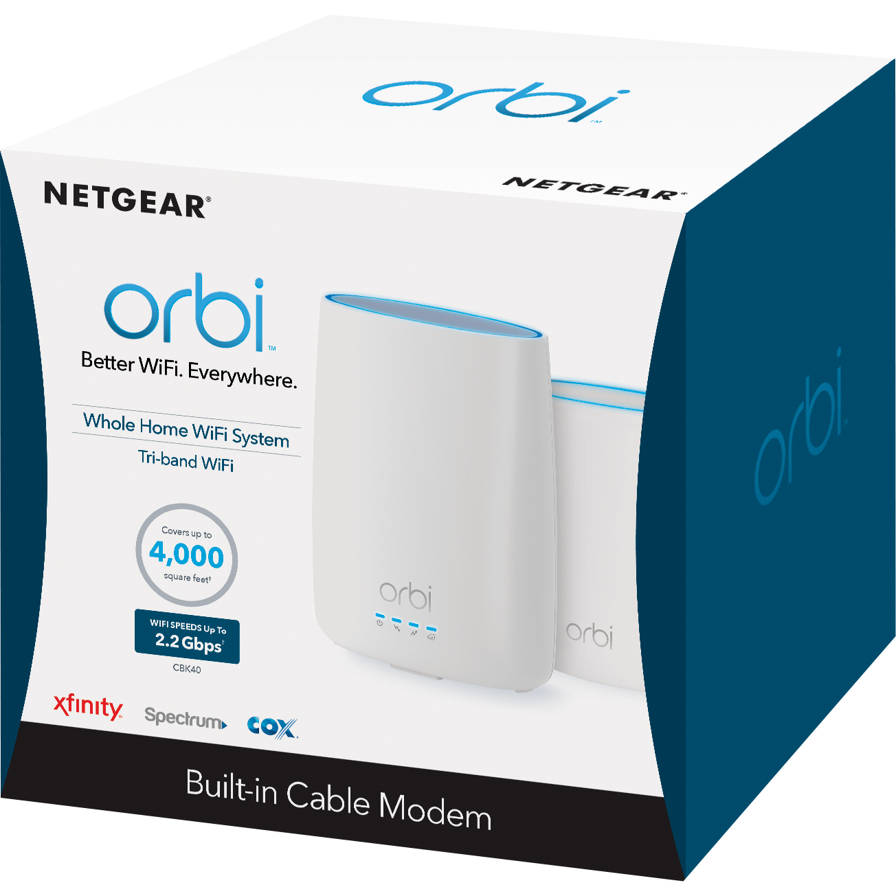 NETGEAR CBK40 Orbi Mesh WiFi System with Built in Cable Modem AC3000, DOCSIS 3.0 | Up to 5,000 Square Feet; Certified for XFINITY from Comcast, Spectrum, Cox, and more (CBK40)