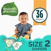 Seventh Generation Free & Clear Baby Diapers with Animal Prints Size 2, 36 Count