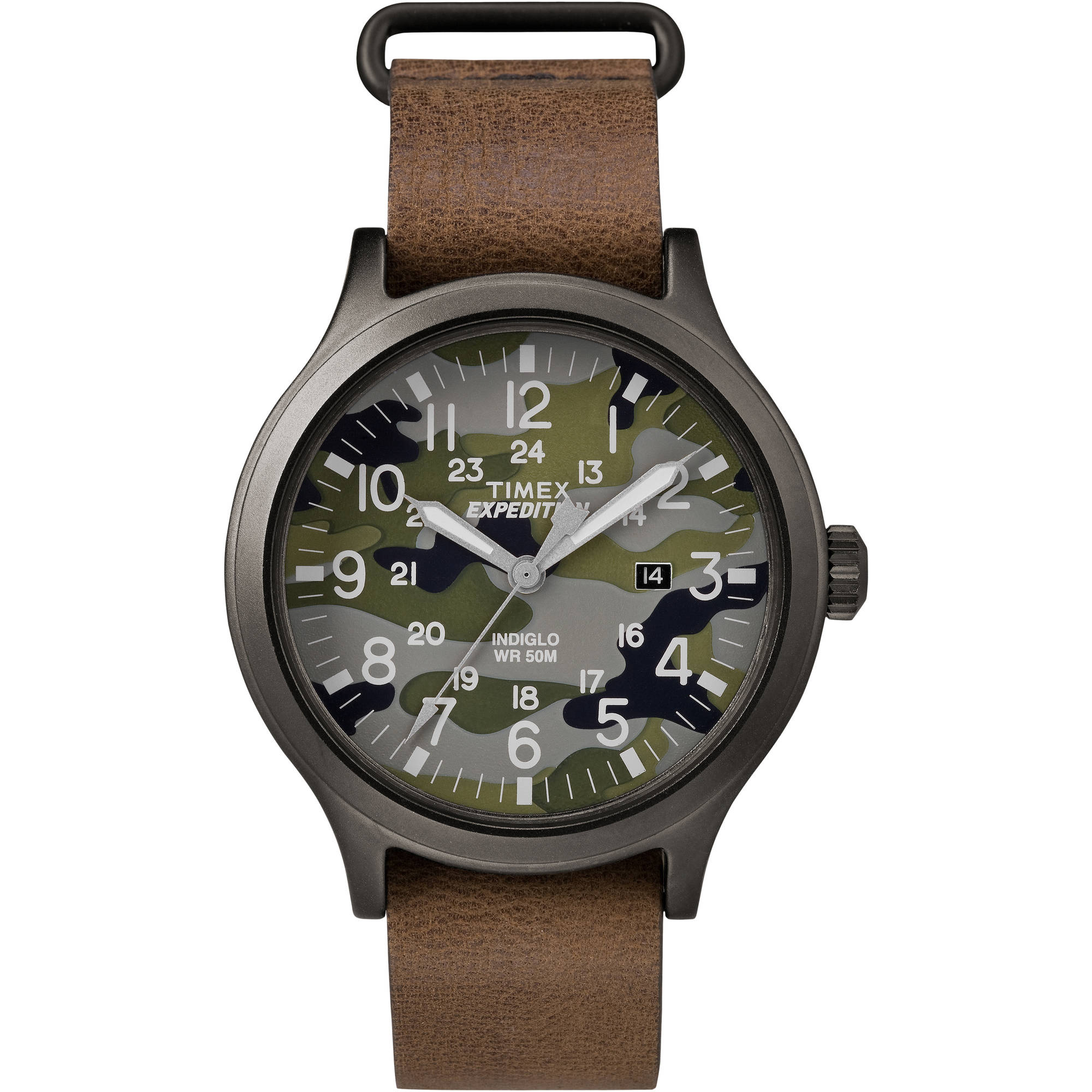 Timex Men's Expedition Scout 43 Green Camo Dial Watch, Brown Leather Strap by Timex