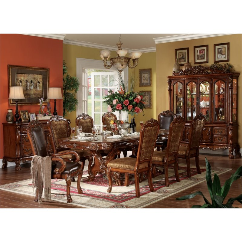 ACME Dresden Dining Table with Double Pedestal in Cherry Oak