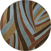 Hand-tufted Contemporary Blue Striped Mayflower Wool Rug (6' Round)