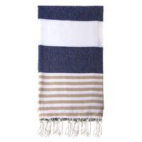 "Swan Comfort 100% Cotton Pestemal Turkish Bath & Beach Towel, 39"" x 70"" - Navy Blue - Brown"
