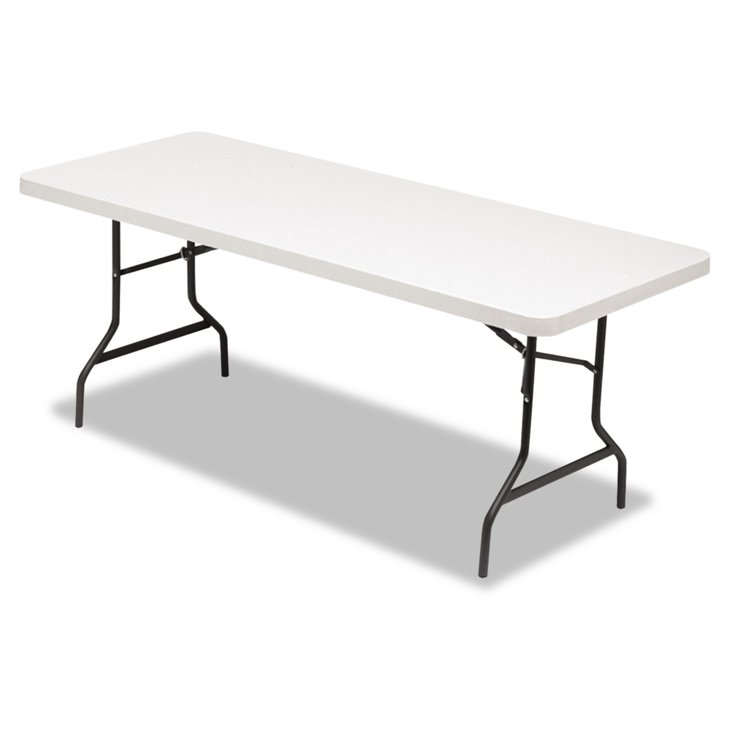 Alera Resin Rectangular Folding Table, Square Edge, 72w x 30d x 29h, Platinum by ALERA
