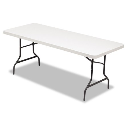 Alera Resin Rectangular Folding Table, Square Edge, 72w x 30d x 29h, Platinum