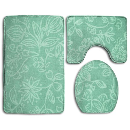 Gohao Mint Green Flowers 3 Piece Bathroom Rugs Set Bath