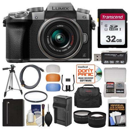 Panasonic Lumix DMC-G7 4K Wi-Fi Digital Camera & 14-42mm Lens (Silver) with 32GB Card + Case + Battery & Charger + Tripod + Tele/Wide Lenses Kit ()