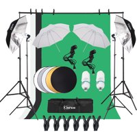 Clearance! Professional Softbox Lighting Kit, SEGMART Background Support System w/3Pcs 45W 5500K Socket Light, 3 Color Backdrop, Umbrellas Softbox Continuous Lighting Stand Set for Photo Studio, S8718