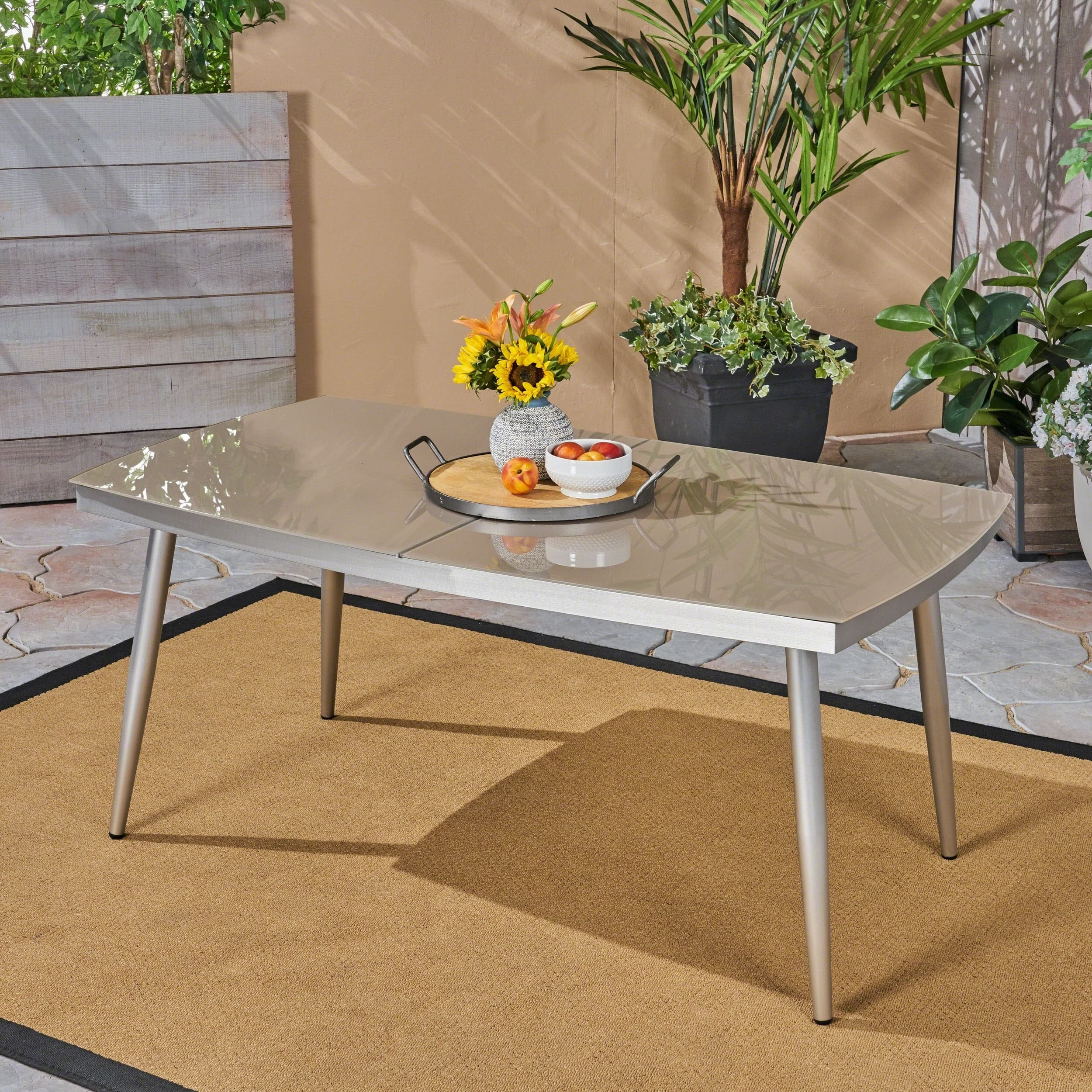 Christopher Knight Home Manchester Outdoor Tempered Glass Dining Table with Aluminum Frame by
