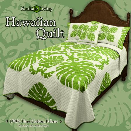 Kauhale Living Hawaiian Bedding Monstera Bamboo Qn Blue Walmart