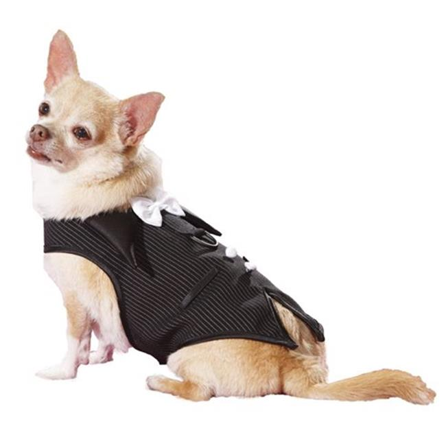 Hollywood Poochie HP505 Pinstripe Doggie Tuxedo Vest Harness Fully Lined, Black & White - XXS
