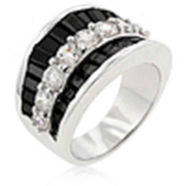 Kate Bissett R08064R-C03-06 Genuine Rhodium Plated Contemporary Ring with Clear and Jet Black CZ in Silvertone - Size 6