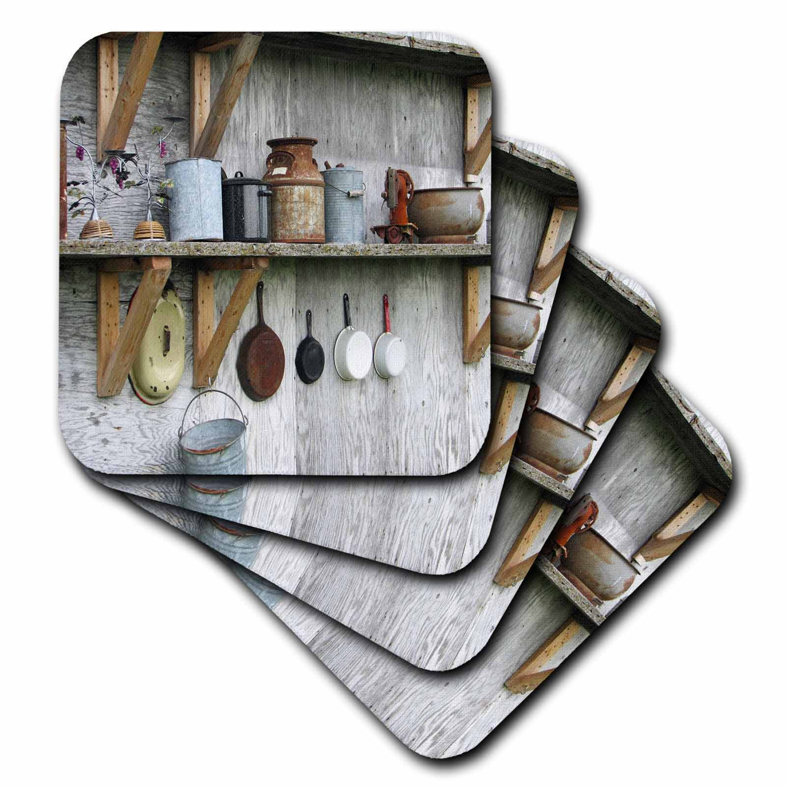 3dRose Photo Of Antique Kitchenware In A Country Barn, Soft Coasters, set of 4
