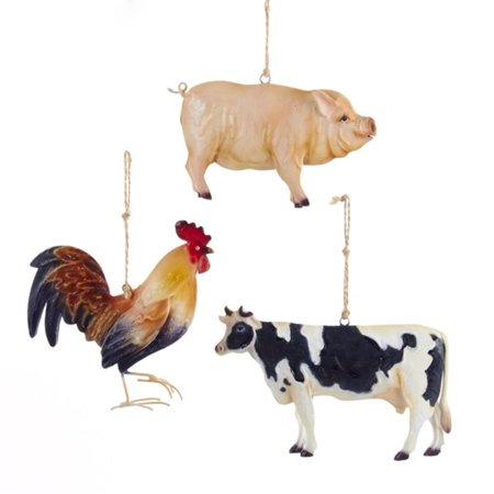club pack of 12 cow pig and rooster farm animal christmas ornaments 525 - Animal Christmas Decorations