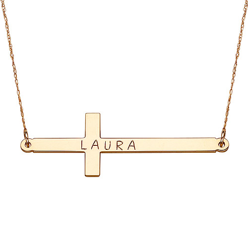 Personalized 10kt Yellow Gold Name Cross Necklace