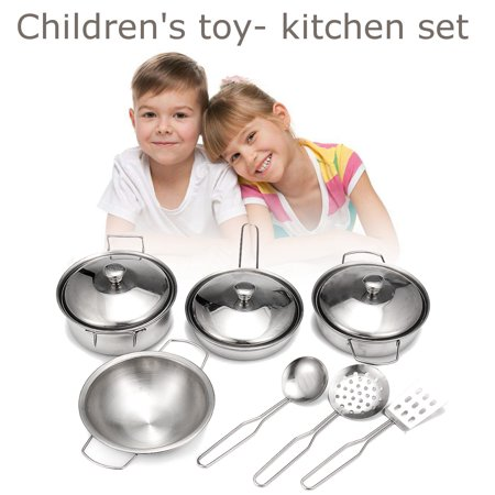 Stainless Steel Dishwasher Safe (Kitchen Toys Pretend Cooking Toy Cookware Playset for Kids 11-Pieces Stainless Steel Pots and Pans with Cooking Utensils -Dishwasher Safe )
