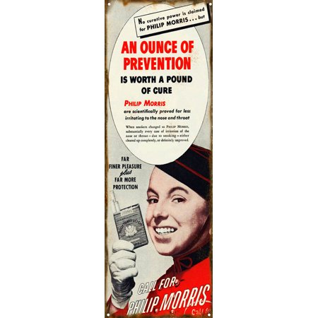 An Ounce Of Prevention Is Worth A Pound Of Cure Philip Morris Sign  6   X 18      Csrg4515