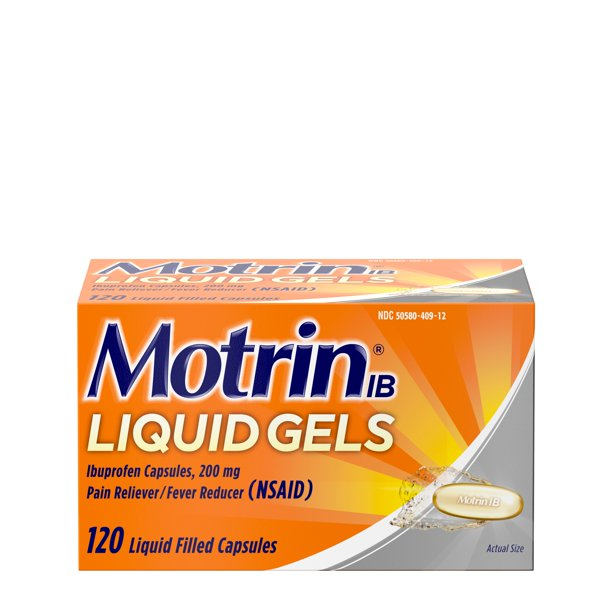 Motrin IB Liquid Gels, Ibuprofen 200 mg, Pain & Fever Relief, 120 ct.