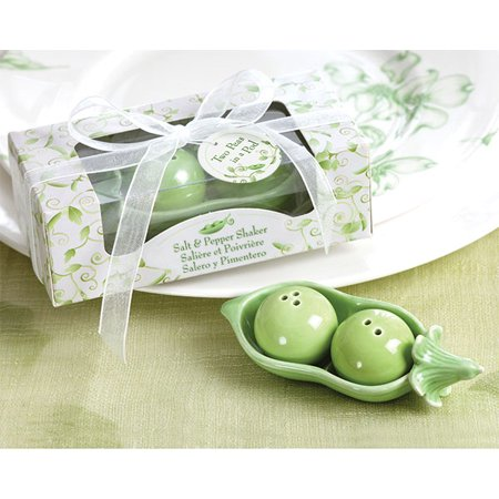 Kate Aspen Two Peas in a Pod Ceramic Salt and Pepper Shakers in Ivy Leaf Print Box (Set of 96) ()