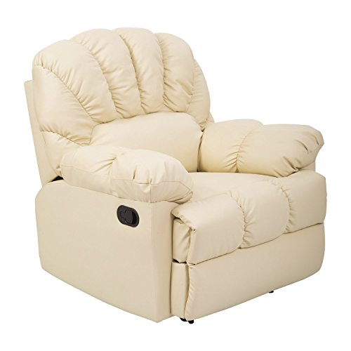 Delightful HomCom PU Leather Rocking Sofa Chair Recliner   Cream