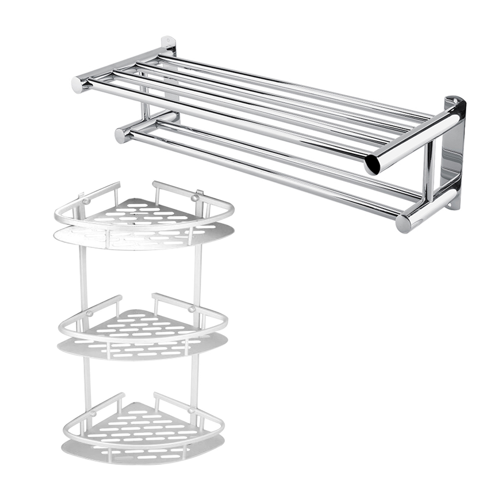 Ashata Triangular Shower Caddy Shelf Bathroom Corner Bath Rack Storage Holder Organizer