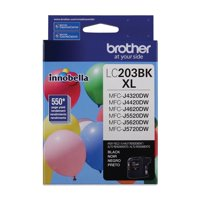 Brother Genuine Standard Yield Black Ink Cartridge, LC203BK, Replacement Black Ink, Page Yield Up To 550 Pages, LC203