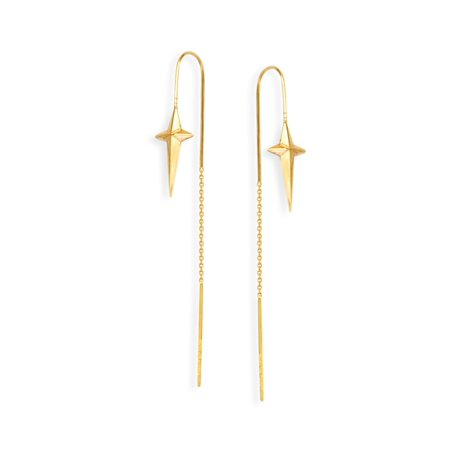 (14K Yellow Gold Cross With Pointed Edges Threader Earring)